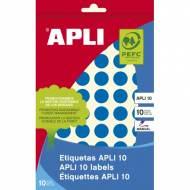 APLI 02735. Etiquetas adhesivas azules escritura manual (ø 13 mm.)