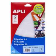 APLI 11182. Blister 15 hojas A5 etiquetas blancas (210,0 X 148,0 mm.)