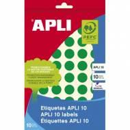 APLI 02737. Etiquetas adhesivas verdes escritura manual (ø 13 mm.)