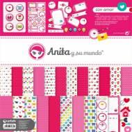 GRAFOPLAS 37010612. Kit bolsa Scrapbooking colección Con Amor de Anita y su mundo