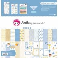 GRAFOPLAS 37080642. Kit bolsa Scrapbooking colección Primera comunión niño de Anita y su mundo