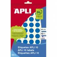 APLI 02739. Etiquetas adhesivas azules escritura manual (ø 16 mm.)