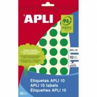 APLI 02741. Etiquetas adhesivas verdes escritura manual (ø 16 mm.)
