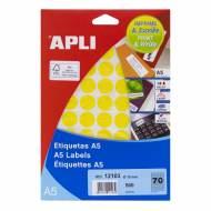 APLI 12103. Blister 8 hojas A5 etiquetas amarillas (ø 19 mm.)