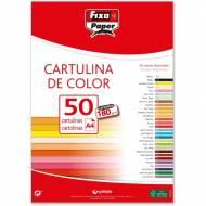 GRAFOPLAS 11110351. Pack 50 cartulinas Fixo paper A4 de 180  gr. Color rojo
