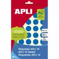 APLI 02743. Etiquetas adhesivas azules escritura manual (ø 19 mm.)