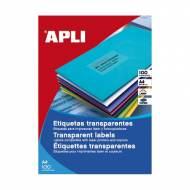 APLI 11918. Caja 100 hojas A4 etiquetas translúcidas (70,0 X 37,0 mm.)