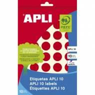 APLI 02744. Etiquetas adhesivas rojas escritura manual (ø 19 mm.)