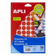 APLI 12105. Blister 8 hojas A5 etiquetas rojas (ø 19 mm.)