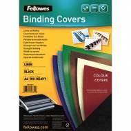Fellowes 5381402. Pack de 100 portadas Linen negras A4 250 gr.