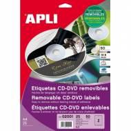 APLI 2001. Blister 25 hojas A4 etiquetas CD-DVD removibles (ø 114 mm.)