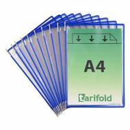 TARIFOLD Pack 10 fundas con pivotes A4. Marco azul - 114001
