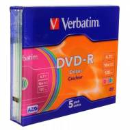 VERBATIM DVD-R 16x Advanced AZO 4,7GB slim case 5 uds - 43557
