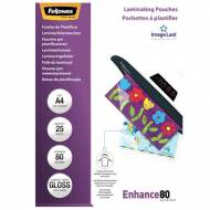 Fellowes 5396205. Pack 25 Fundas Plastificar 80 micras Brillo A4