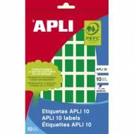 APLI 02753. Etiquetas adhesivas verdes escritura manual (12 X 18 mm.)