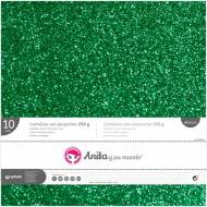 GRAFOPLAS 37111420. Pack 10 cartulinas purpurina 250 gr de 30,5 x 30,5. Color verde