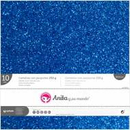GRAFOPLAS 37111430. Pack 10 cartulinas purpurina 250 gr de 30,5 x 30,5. Color azul