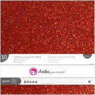 GRAFOPLAS 37111451. Pack 10 cartulinas purpurina 250 gr de 30,5 x 30,5. Color rojo