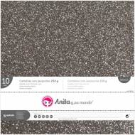 GRAFOPLAS 37111475. Pack 10 cartulinas purpurina 250 gr de 30,5 x 30,5. Color plata