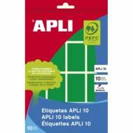 APLI 02757. Etiquetas adhesivas verdes escritura manual (25 x 40 mm.)