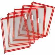 TARIFOLD Pack 10 fundas con pivotes A4. Marco rojo - 114003