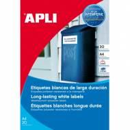 APLI 12112. Blister 20 hojas A4 etiquetas de poliéster blancas (45,7 X 21,2 mm.)