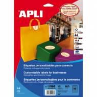 APLI 11986. 10 hojas A4 etiquetas para comercio ovaladas (63,5 X 42,3 mm.)