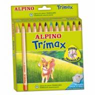 ALPINO AL000113. Estuche de 12 lápices triangulares Trimax de colores surtidos