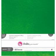 GRAFOPLAS 37111520. Pack 10 cartulinas metal de 30,5 x 30,5 - 250 gr. Color verde