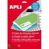 APLI 12927. Blister de 10 hojas A4 de etiquetas blancas (25,4 X 10,0 mm.)