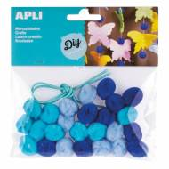 APLI 14796. Pompones para manualidades en tonos azules (25 und.)