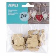 APLI 14800. Formas de madera para manualidades. Animales (12 und.)