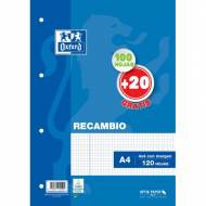 Oxford 400058179 Recambio School OPTIK PAPER 90 gr 4 taladros A4 120 hojas 4x4