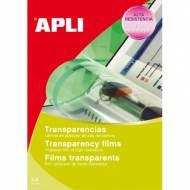 APLI 861. Caja 100 transparencias para fotocopiadoras A4. Con banda lateral.