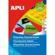 APLI 12987. Caja 100 hojas A4 etiquetas rojo fluor (99,1 X 67,7 mm.)