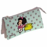 GRAFOPLAS 37540656. Estuche escolar portatodo triple Mafalda Dots