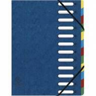 EXACOMPTA Carpeta clasificadora 12 posiciones A4 Con fuelle Azul Cartulina - 55122E