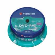 VERBATIM DVD-RW 4x Advanced SERL 4,7GB Spindle 25 uds - 43639