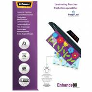 Fellowes 5396403. Pack 25 Fundas Plastificar 80 micras Brillo A3