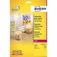 AVERY L7651Y-25. Pack de 25 hojas de etiquetas fluorescentes amarillas (1625 etiquetas de 38,1 x 21,2 mm.)