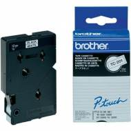 BROTHER TC201 Cinta TC, laminada (12 mm x 7,7 m). Negro sobre blanco