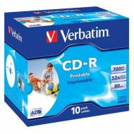VERBATIM Pack 10 CD-R Super AZO 52x 700MB Imprimible Inkjet - 43325