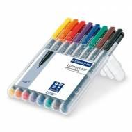 STAEDTLER 318 WP8. Estuche 8 marcadores permanentes Lumocolor con punta fina. Trazo 0.6 mm. Colores surtidos