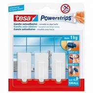 TESA Gancho de plástico Powerstrips (4 ganchos + 3 tiras) - I25595