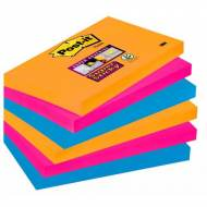 POST-IT Notas adhesivas Super Sticky Bangkok. Pack 6 blocs 90h. Colores eléctricos 76x127mm - 655-6SS-EG