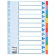 ESSELTE Separadores de cartón - Formato A4, 12 posiciones - Colores surtidos - Ref. 100194