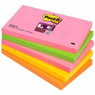 POST-IT Notas adhesivas Super Sticky Cape Town. Pack 5 blocs 90h Neon surtidos 76x127mm - 70005253318