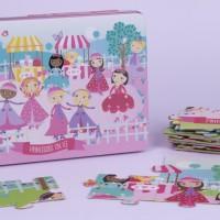 APLI 16490. Puzle Princesas sobre hielo en caja metálica
