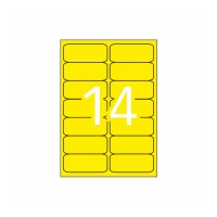 APLI 15076. Etiquetas amarillo fluorescente permanentes 99,1 x 38,1 mm 20 hojas