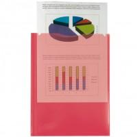 Liderpapel 27847. Carpeta dossier dos bolsas A4 de polipropileno roja transparente